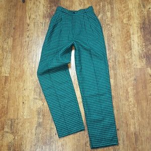 Vintage Green Houndstooth High-Waisted Trousers